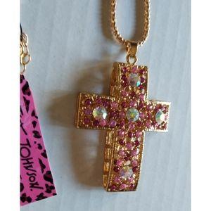 Betsey Johnson Pink Rhinestone 3D Cross Necklace